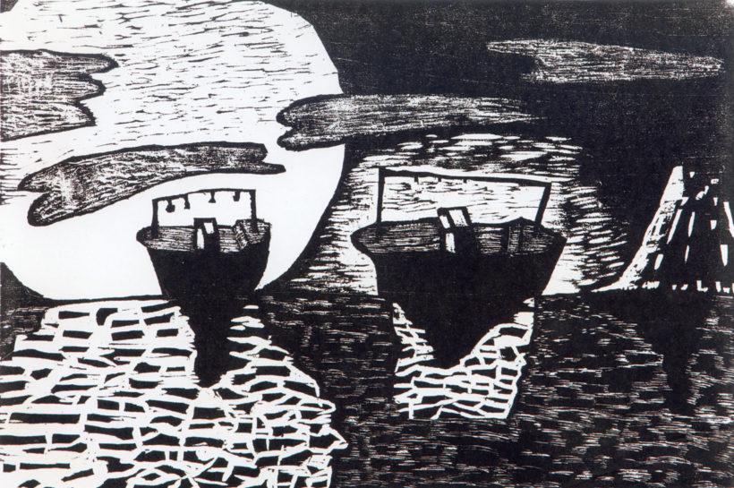 八戸市立湊中学校養護学級生徒共同制作「月と船と島」『船の一生』より/1972年 /八戸市新美術館建設推進室所蔵