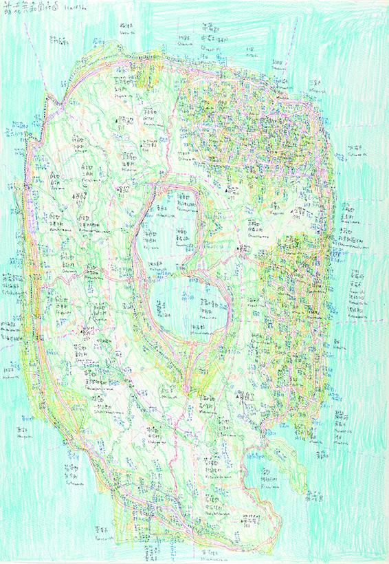 上嶋浩綺|《萌花共和国地図》|ボールペン、色鉛筆、紙|533×373mm|2019年