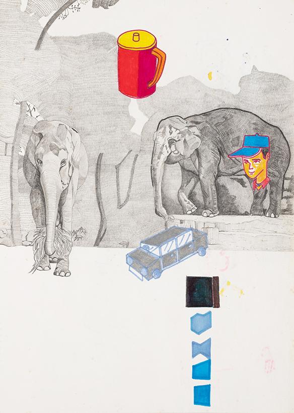 木引英明|《妥協しない動物画》|鉛筆、色鉛筆、フェルトペン、紙|332×240mm|制作年不明