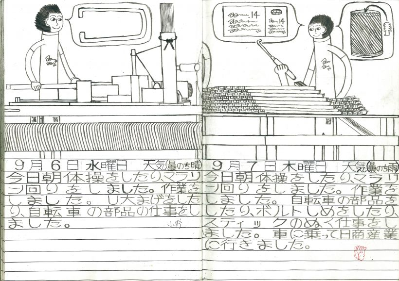 唯勝也|「1995年9月6-7日」|鉛筆、ボールペン、ノート